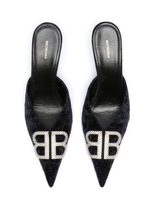 细节 - 点击放大 - BALENCIAGA - BB仿水晶缀饰天鹅绒尖头穆勒鞋