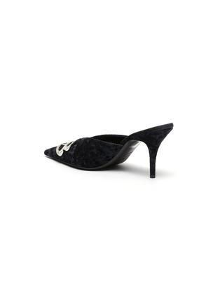 - BALENCIAGA - BB仿水晶缀饰天鹅绒尖头穆勒鞋
