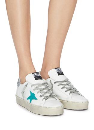 模特儿示范图 - 点击放大 - Golden Goose - Hi Star闪粉拼贴五角星厚底运动鞋