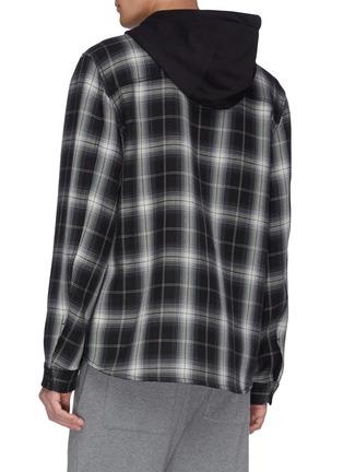背面 - 点击放大 - VINCE - 拼色格纹混棉连帽衬衫
