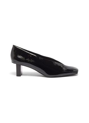 首图 - 点击放大 - Mercedes Castillo - Alisandra矩形跟绒面真皮拼接漆皮穆勒鞋