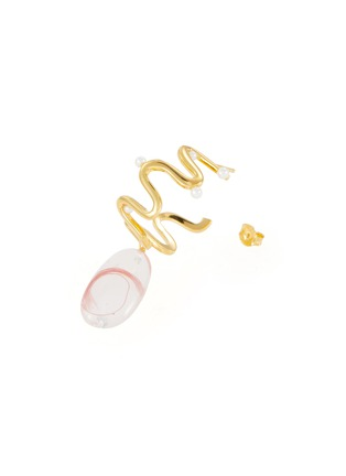 细节 - 点击放大 - Ejing Zhang - Biga纱线树脂吊坠淡水珍珠扭纹镀金耳环