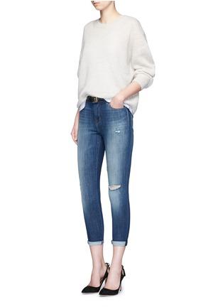 模特示范图 - 点击放大 - J BRAND - 水洗磨破牛仔布长裤