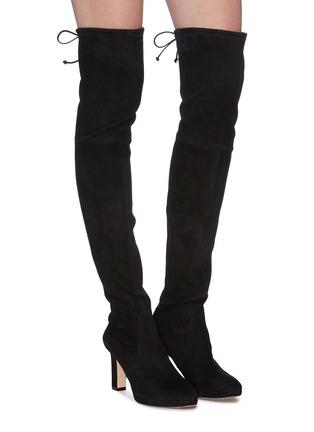模特儿示范图 - 点击放大 - Stuart Weitzman - Ledyland绒面真皮粗跟过膝长靴