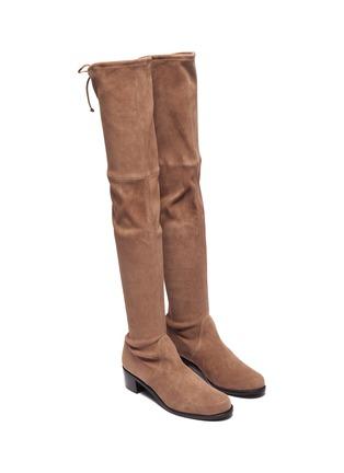 细节 - 点击放大 - STUART WEITZMAN - Midland弹力绒面真皮粗跟过膝长靴