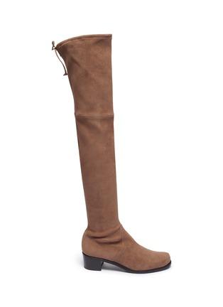 首图 - 点击放大 - STUART WEITZMAN - Midland弹力绒面真皮粗跟过膝长靴