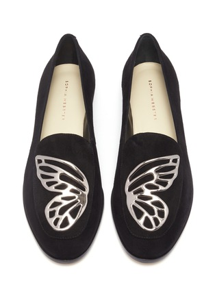 细节 - 点击放大 - Sophia Webster - Butterfly翅膀点缀绒面真皮乐福鞋