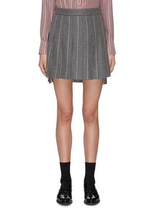 首图 - 点击放大 - Thom Browne - 前短后长条纹百褶羊毛半裙
