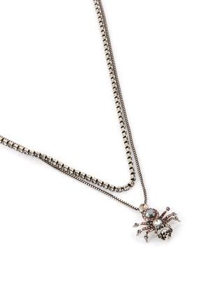 细节 - 点击放大 - ALEXANDER MCQUEEN - 施华洛世奇仿水晶骷髅头点缀蜘蛛造型项链