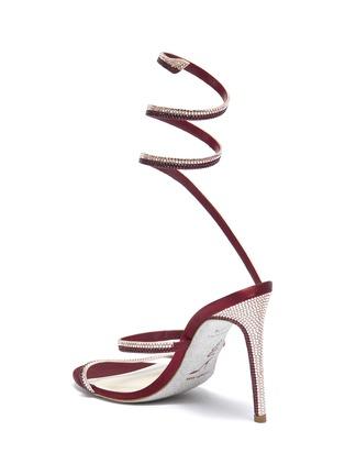 - René Caovilla - Cleo仿水晶绕踝绊带缎面高跟凉鞋