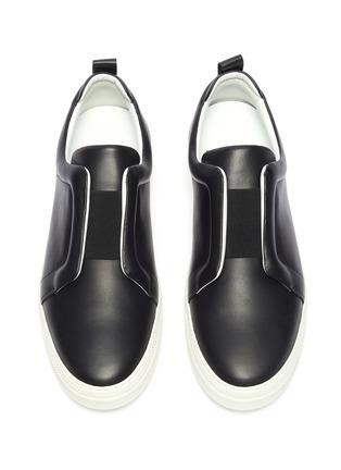 细节 - 点击放大 - PIERRE HARDY - Slider松紧带拼接真皮运动鞋