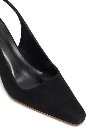 细节 - 点击放大 - BY FAR - DIANA仿水晶点缀粗跟绒面真皮露跟鞋
