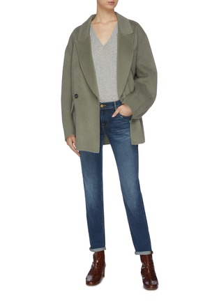 模特儿示范图 - 点击放大 - FRAME DENIM - V领皮马棉T恤