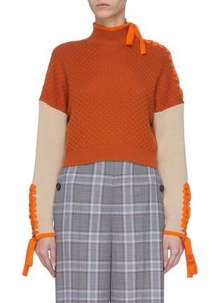 首图 - 点击放大 - JONATHAN SIMKHAI - 拼色系带落肩袖几何纹理短款棉混羊绒针织衫