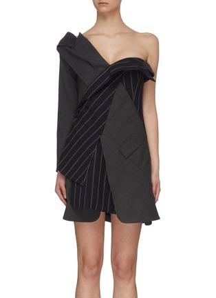 首图 - 点击放大 - MONSE - 拼接设计搭叠露单肩拼色条纹混初剪羊毛西服式连衣裙