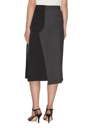 背面 - 点击放大 - MONSE - 拼接设计车缝线点缀褶裥不对称混初剪羊毛半裙