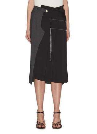 首图 - 点击放大 - MONSE - 拼接设计车缝线点缀褶裥不对称混初剪羊毛半裙