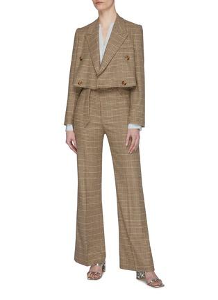 模特儿示范图 - 点击放大 - NANUSHKA - CLARA腰带褶裥拼色格纹长裤