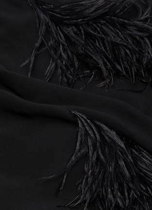 - 16ARLINGTON - HALTER鸵鸟毛褶裥挂脖式连衣裙