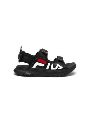 首图 - 点击放大 - FILA - 儿童款logo真皮拼接网眼布搭带凉鞋