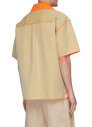 背面 - 点击放大 - Feng Chen Wang - 两面穿拼色须边开衩前襟混棉短袖混衬衫