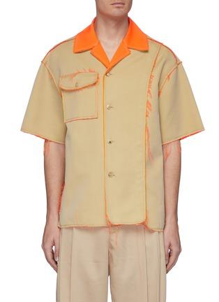首图 - 点击放大 - Feng Chen Wang - 两面穿拼色须边开衩前襟混棉短袖混衬衫