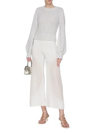 模特儿示范图 - 点击放大 - STAUD - INU闪亮丝线短款混棉针织衫