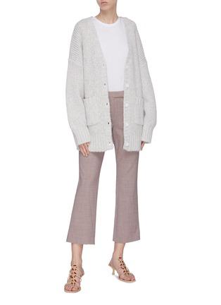 模特儿示范图 - 点击放大 - STAUD - CHARLIE闪亮丝线OVERSIZED混棉针织开衫