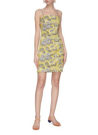 模特儿示范图 - 点击放大 - STAUD - BASSET异域风情印花棉质吊带连衣裙