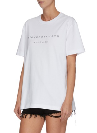 正面 -点击放大 - ALEXANDER WANG - x 连卡佛Bling中性款仿水晶logo纯棉T恤
