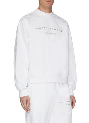 细节 - 点击放大 - ALEXANDER WANG - x 连卡佛Bling中性款仿水晶logo纯棉卫衣
