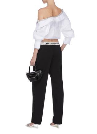 模特儿示范图 - 点击放大 - ALEXANDER WANG - x 连卡佛logo仿水晶裤腰长裤