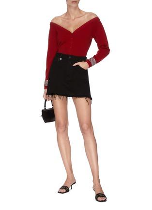 模特儿示范图 - 点击放大 - alexander wang - x 连卡佛Bite a字母仿水晶须边纯棉牛仔半裙