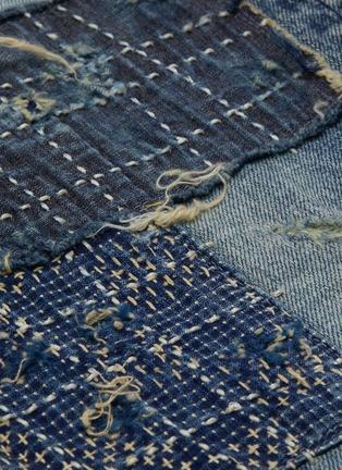 - FDMTL - 日式刺绣拼贴磨破修身混棉牛仔裤