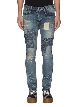 首图 - 点击放大 - FDMTL - 日式刺绣拼贴磨破修身混棉牛仔裤