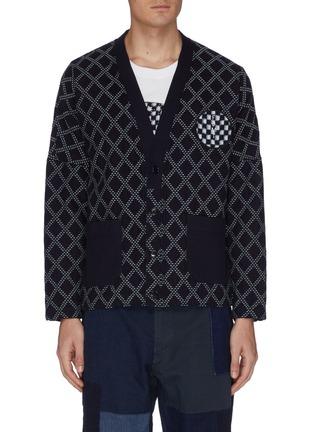 首图 - 点击放大 - FDMTL - 絣织图案拼贴格纹纯棉针织开衫