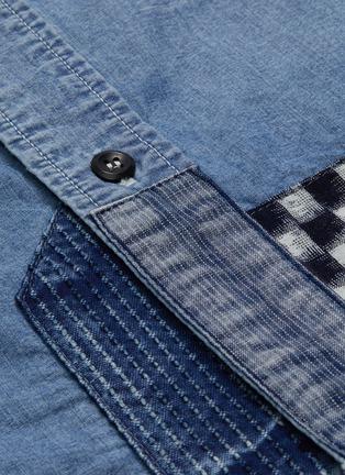 - FDMTL - 日式刺绣及絣织图案拼贴水洗纯棉牛仔衬衫