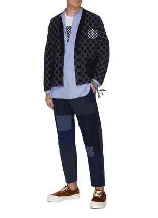 模特儿示范图 - 点击放大 - FDMTL - 日式刺绣拼贴纯棉长裤
