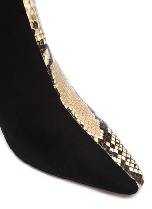 细节 - 点击放大 - Fabio Rusconi - Camo绒面真皮拼接鳄鱼纹真皮高跟短靴