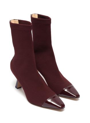 细节 - 点击放大 - FABIO RUSCONI - Cairo漆皮拼接高跟针织袜靴