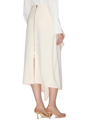 背面 - 点击放大 - ROLAND MOURET - 垂坠布饰褶裥不规则下摆开衩半裙