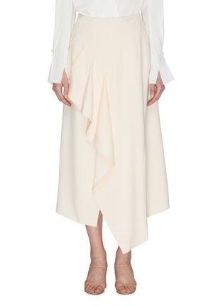首图 - 点击放大 - ROLAND MOURET - 垂坠布饰褶裥不规则下摆开衩半裙
