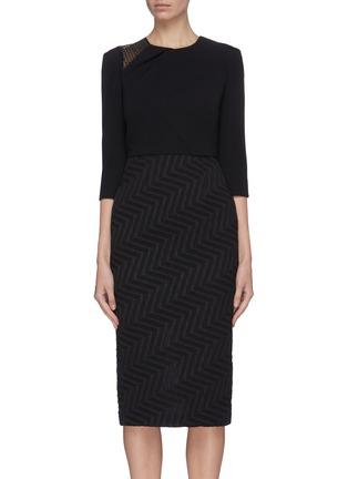 首图 - 点击放大 - ROLAND MOURET - Palatine拼接设计褶裥后开衩人字纹连衣裙
