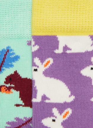 细节 - 点击放大 - Happy Socks - 儿童款拼色兔子松鼠图案针织袜两件套