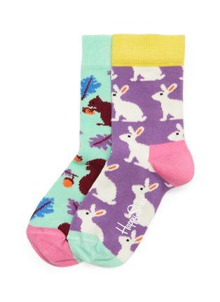 首图 - 点击放大 - Happy Socks - 儿童款拼色兔子松鼠图案针织袜两件套