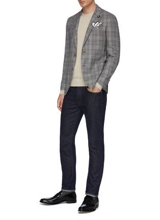 模特儿示范图 - 点击放大 - Lardini - 平驳领格纹丝混羊毛西服外套