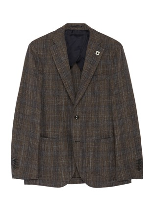 首图 - 点击放大 - Lardini - 平驳领格纹混羊毛及棉西服外套