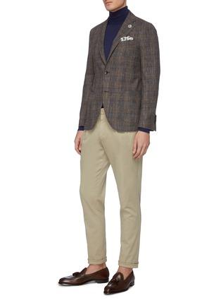 模特儿示范图 - 点击放大 - Lardini - 平驳领格纹混羊毛及棉西服外套