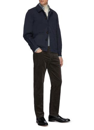 模特儿示范图 - 点击放大 - LARDINI - 拼贴口袋棉混亚麻衬衫式夹克
