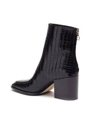 - AEYDE - Lidia鳄鱼纹真皮粗跟短靴